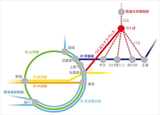 東京・新宿方面から筑波大学病院前までの路線図サムネイル